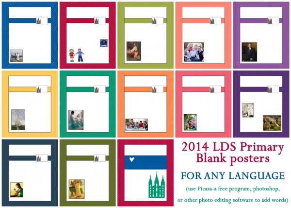 Download 2014 LDS Primary Blank Posters for any Language