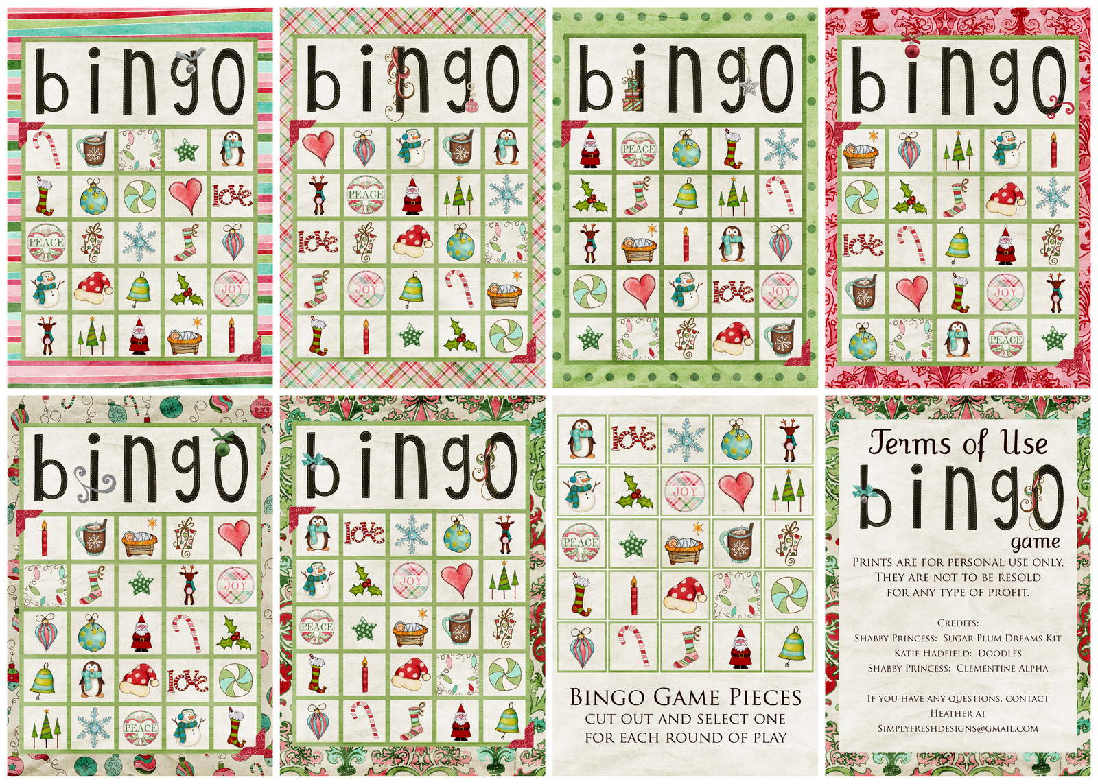 Christmas bingo cards printable simply fresh designs christmas bingo