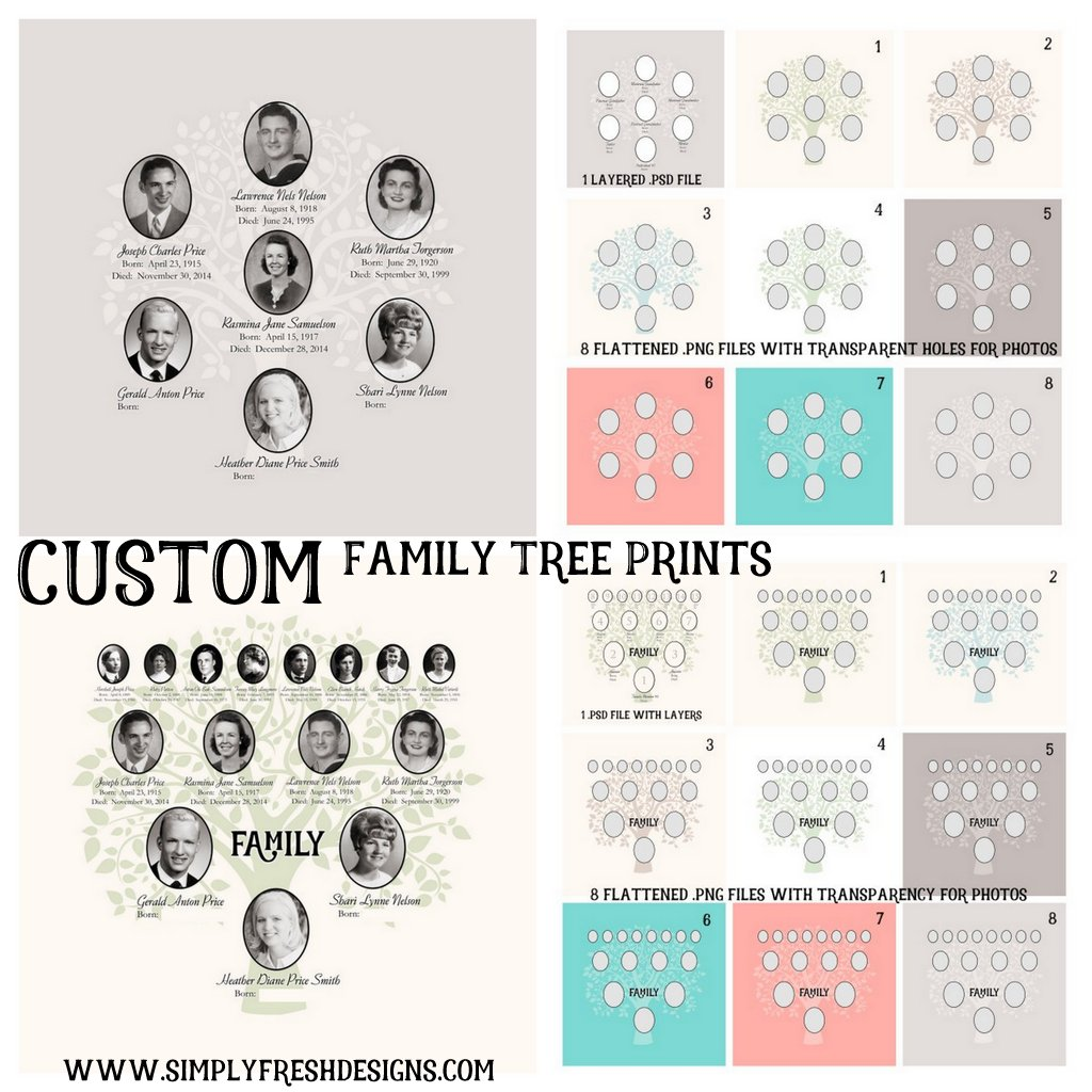 custom family tree digital file simplyfreshdesignscom