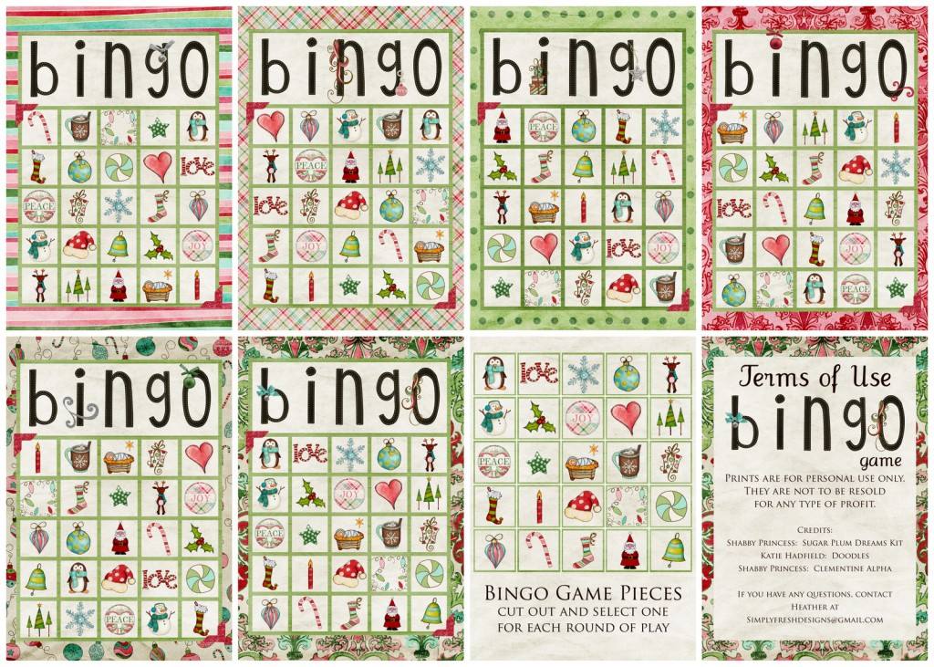 Free Christmas BINGO Download.  #simplyfreshdesigns