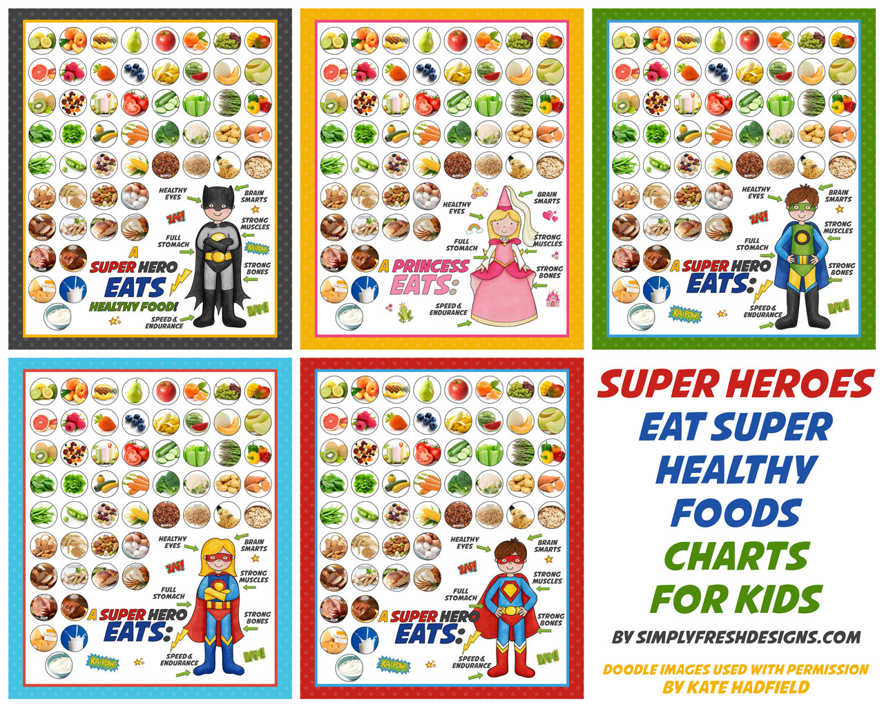 Healthy Eating Charts for Kids only at SimplyFreshDesigns.com