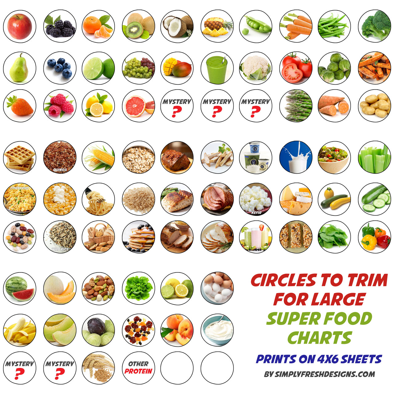 Healthy Eating Charts for Kids - Simply Fresh Designs